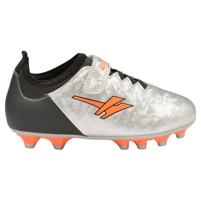 Silver-Black-Orange - Back - Gola Boys Alpha MLD Touch Fastening Football Training Shoe