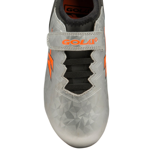 Silver-Black-Orange - Side - Gola Boys Alpha MLD Touch Fastening Football Training Shoe