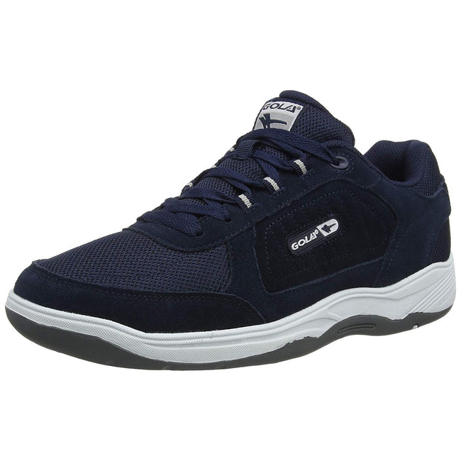 Navy - Front - Gola Mens Belmont Suede Leather Wide Fit Trainer