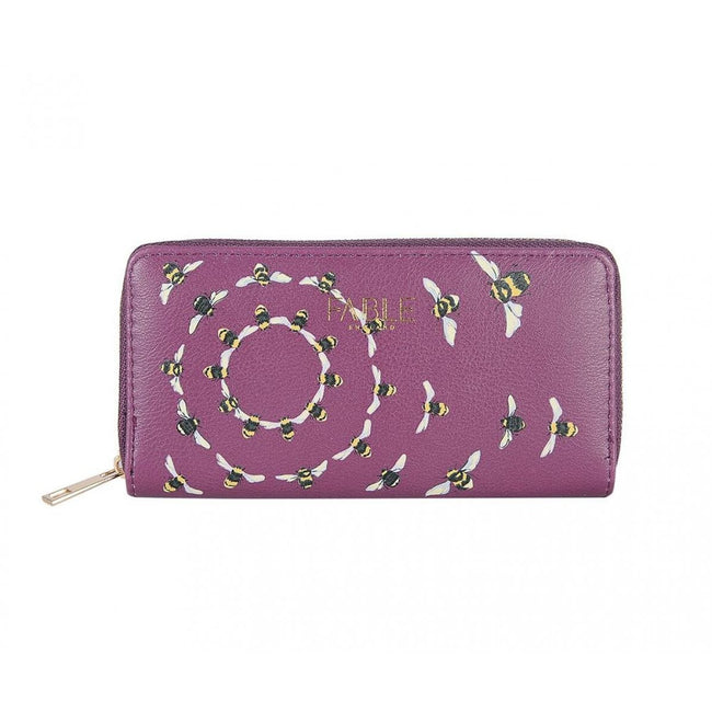 Purple - Front - Fable Womens-Ladies Vintage Bee Print Long Purse