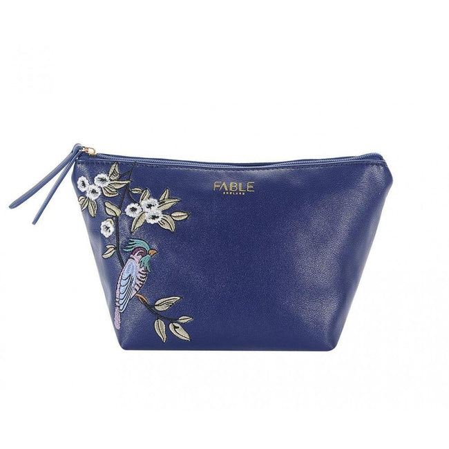 Blue - Front - Fable Womens-Ladies Bird Embroidered Makeup Bag