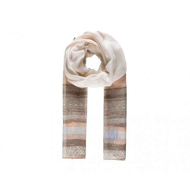 Beige - Front - Intrigue Womens-Ladies Patterned Stripe Print Scarf
