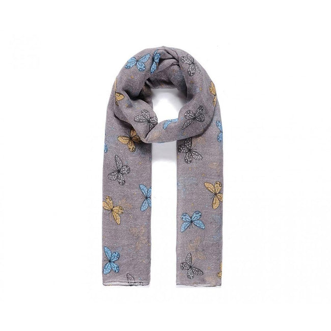 Light Grey - Front - Intrigue Womens-Ladies Stripy Butterfly Print Scarf