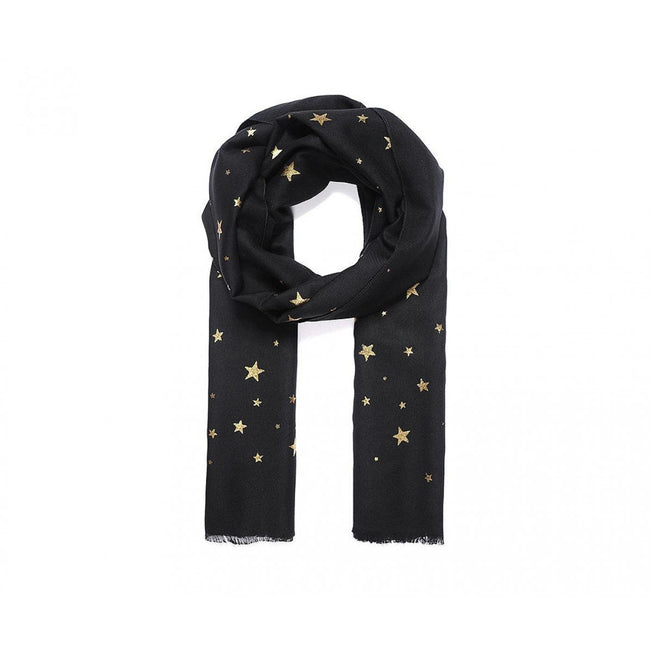 Black - Front - Intrigue Womens-Ladies Metallic Gold Star Print Scarf