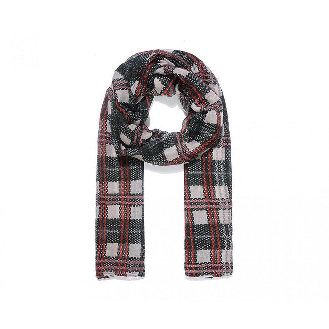Black - Front - Intrigue Womens-Ladies Checked Print Scarf