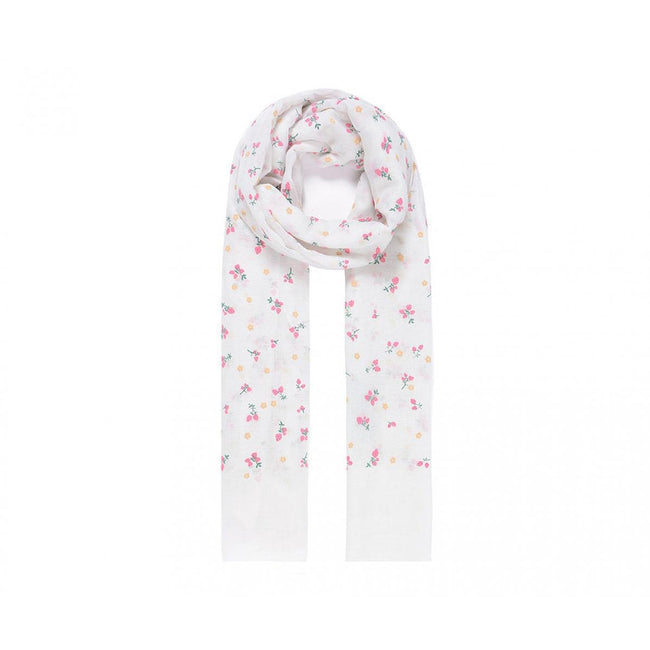White - Front - Intrigue Womens-Ladies Strawberry Print Scarf