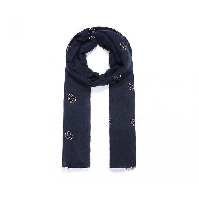 Navy - Front - Intrigue Womens-Ladies Sequin Circle Scarf