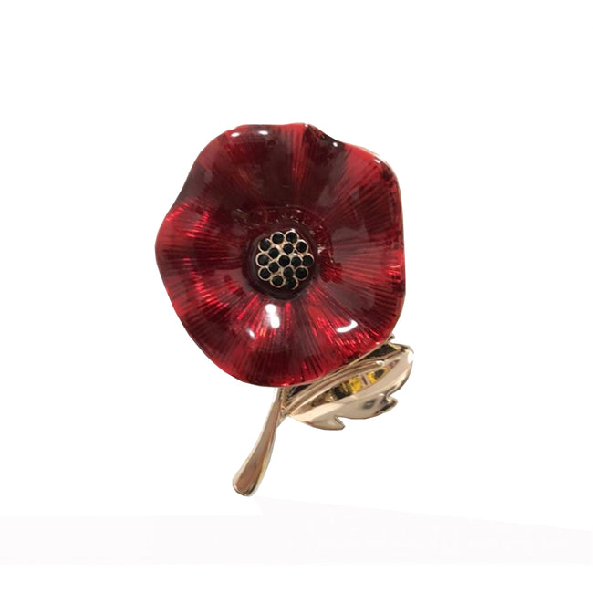 Red - Front - Fable Womens-Ladies Enamelled Poppy Brooch With Gift Box