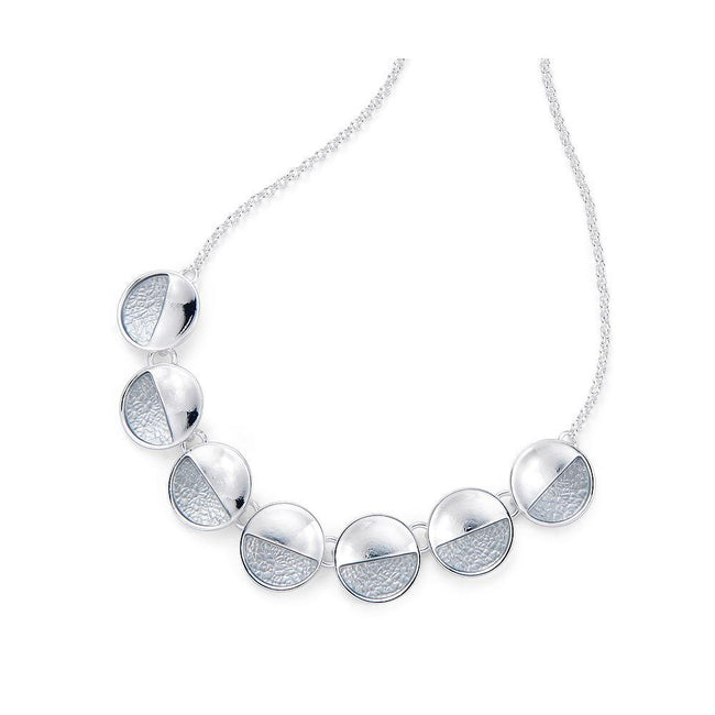 Silver - Front - Fable Womens-Ladies Curved Disc Necklace