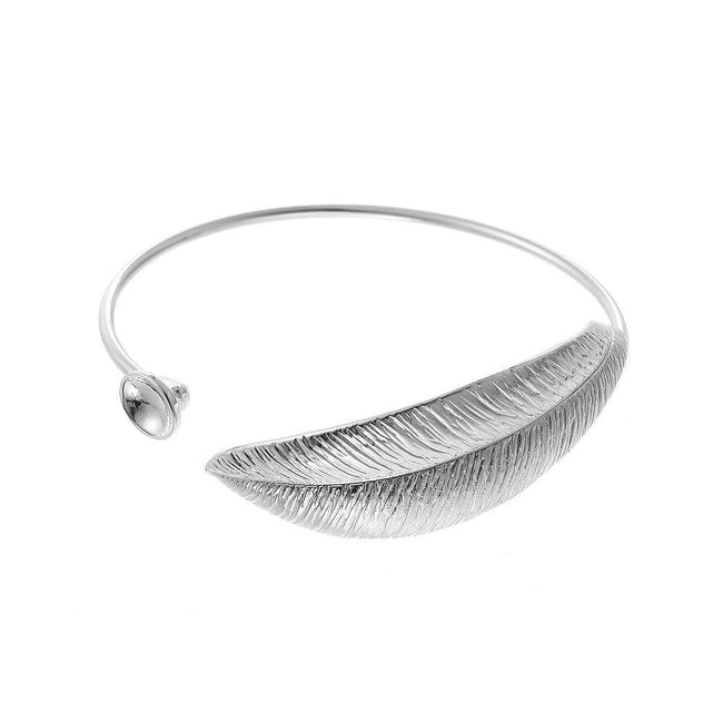 Silver - Front - Intrigue Womens-Ladies Large Leafy Bangle