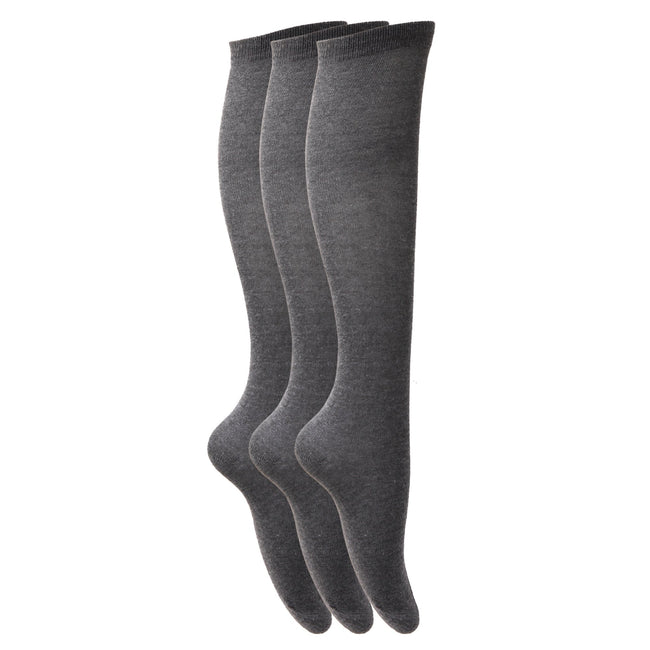 Grey - Front - Childrens Girls Plain Knee High School Socks (Pack Of 3)