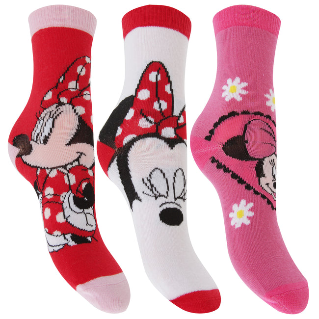 Red-White-Pink - Front - Disney Minnie Mouse Childrens Girls Official Patterned Socks (Pack Of 3)