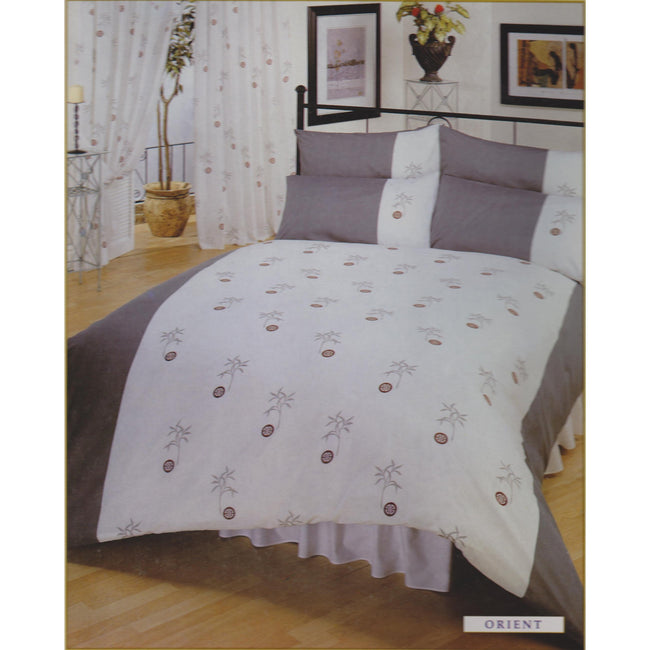 White-Grey - Front - Single Orient Bumper Bedding Set Including Curtains