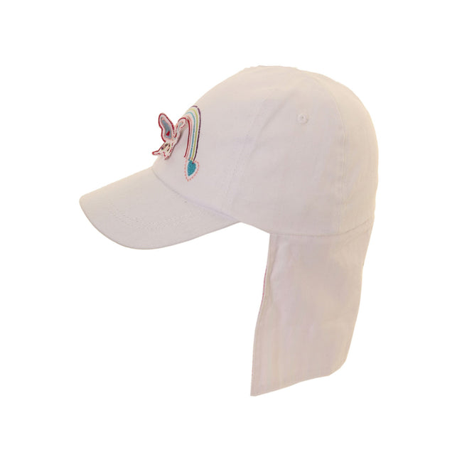 White - Front - Childrens Girls Butterfly And Rainbow Design Legionnaire Baseball Cap