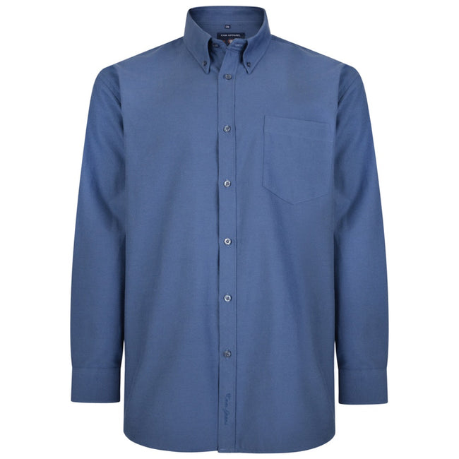 Navy - Front - Kam Jeanswear Mens Long Sleeve Oxford Shirt