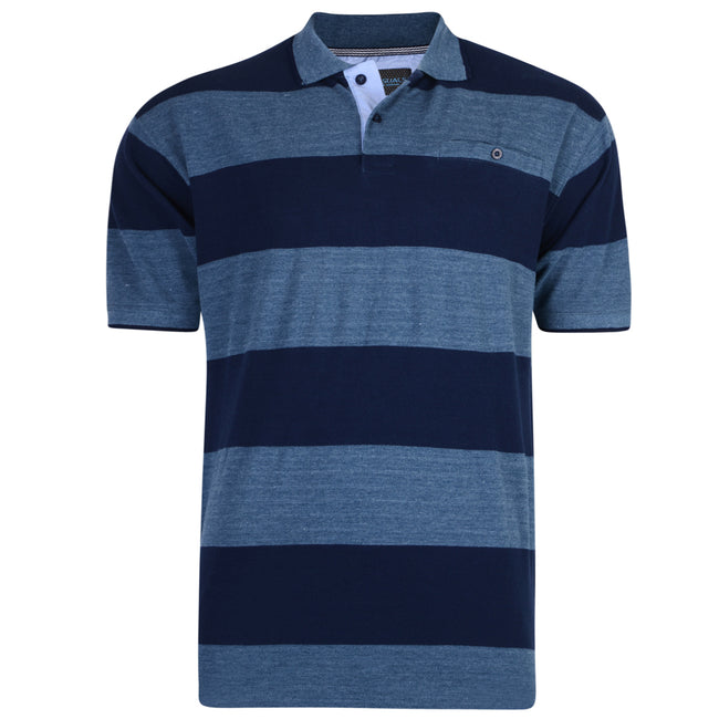 Denim-Navy - Front - Kam Jeanswear Mens Rugby Style Polo