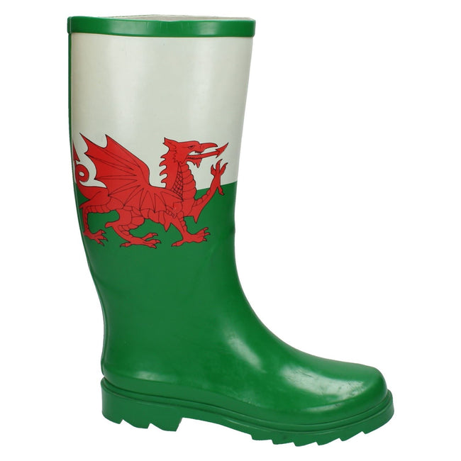 Green - Lifestyle - Spot On Womens-Ladies Welsh Flag Wellington Boots