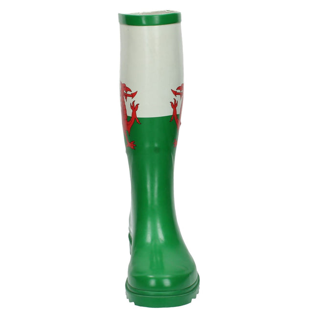 Green - Front - Spot On Womens-Ladies Welsh Flag Wellington Boots
