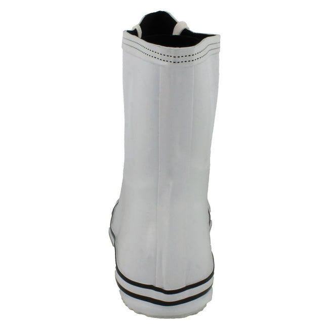 White - Back - Spot On Womens-Ladies Lace Up Baseball Boot Design Wellington Boots