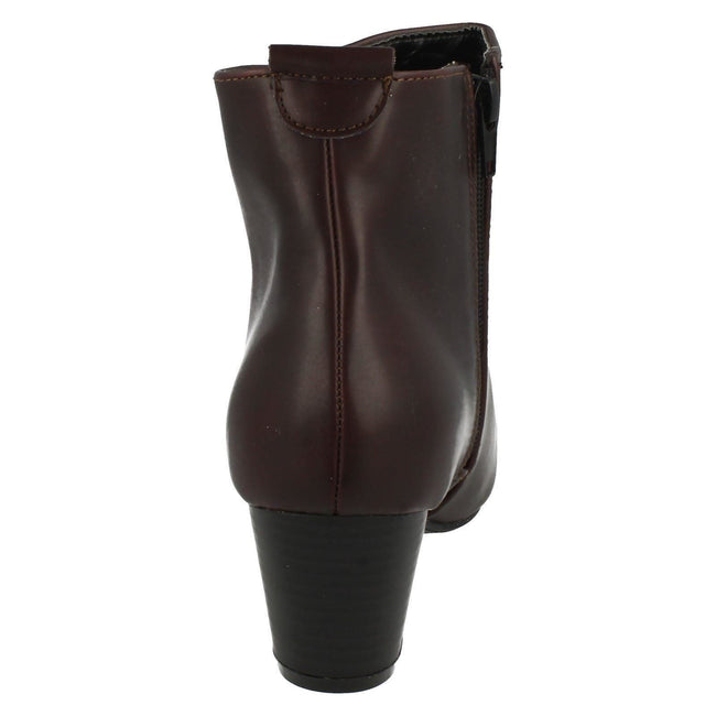 Burgundy - Lifestyle - Spot On Womens-Ladies Heeled Pull On Ankle Boots
