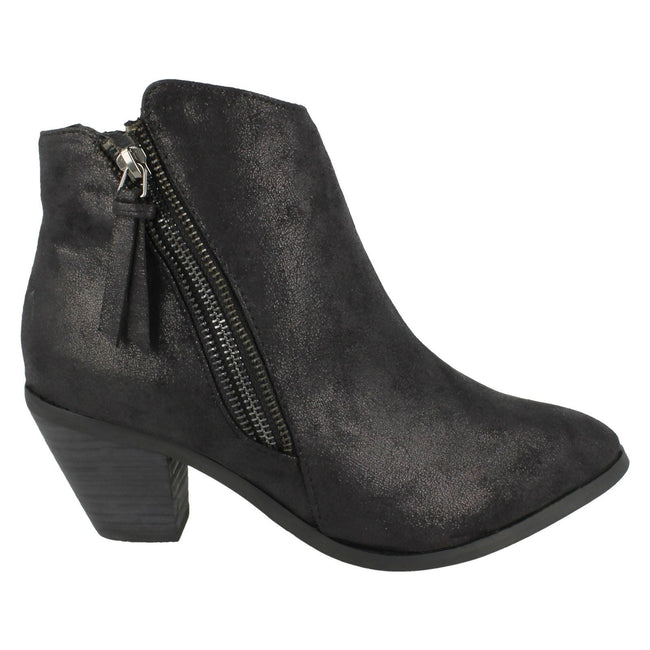 Black Distressed - Side - Spot On Womens-Ladies Heeled Zip Up Ankle Boots