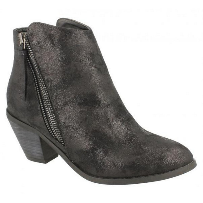 Black Distressed - Lifestyle - Spot On Womens-Ladies Heeled Zip Up Ankle Boots