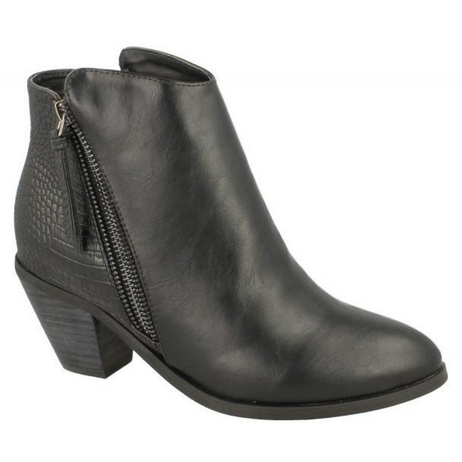 Black Snake - Lifestyle - Spot On Womens-Ladies Heeled Zip Up Ankle Boots