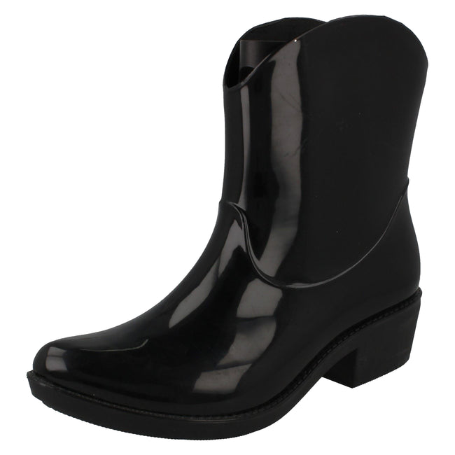 Black - Lifestyle - Spot On Womens-Ladies Chunky Heel Cowgirl Style Wellies