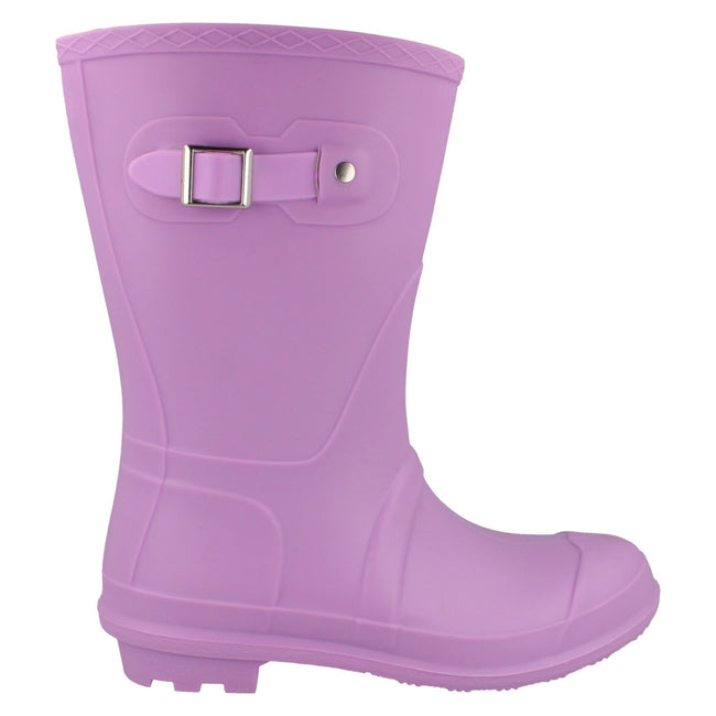 Lilac - Side - Spot On Womens-Ladies Low Calf Pastel Wellington Boots