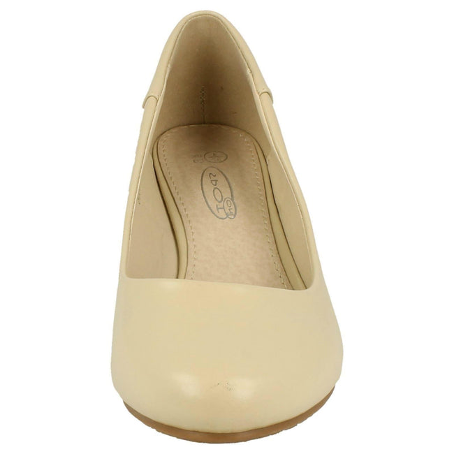 Cream - Back - Spot On Womens-Ladies Low Wedge Court Shoes