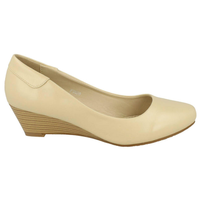 Cream - Lifestyle - Spot On Womens-Ladies Low Wedge Court Shoes