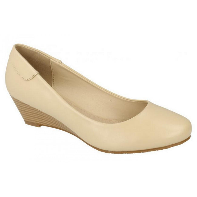 Cream - Pack Shot - Spot On Womens-Ladies Low Wedge Court Shoes