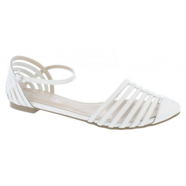 White - Side - Spot On Womens-Ladies Buckle Fasten Casual Summer Sandals