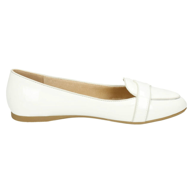 White Patent - Back - Spot On Womens-Ladies Patent Flat Casual Moccasins