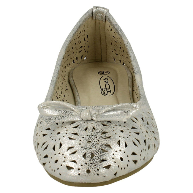 Silver - Front - Spot On Womens-Ladies Slip On Summer Ballerina Shoes