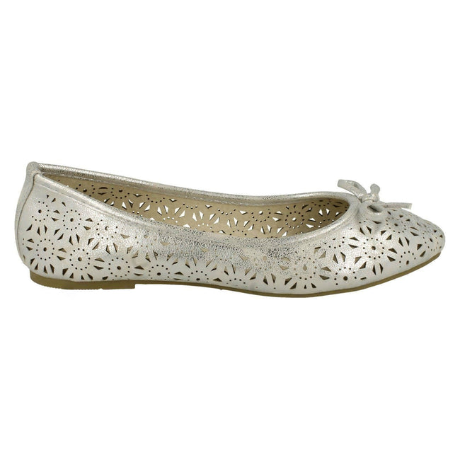 Silver - Side - Spot On Womens-Ladies Slip On Summer Ballerina Shoes