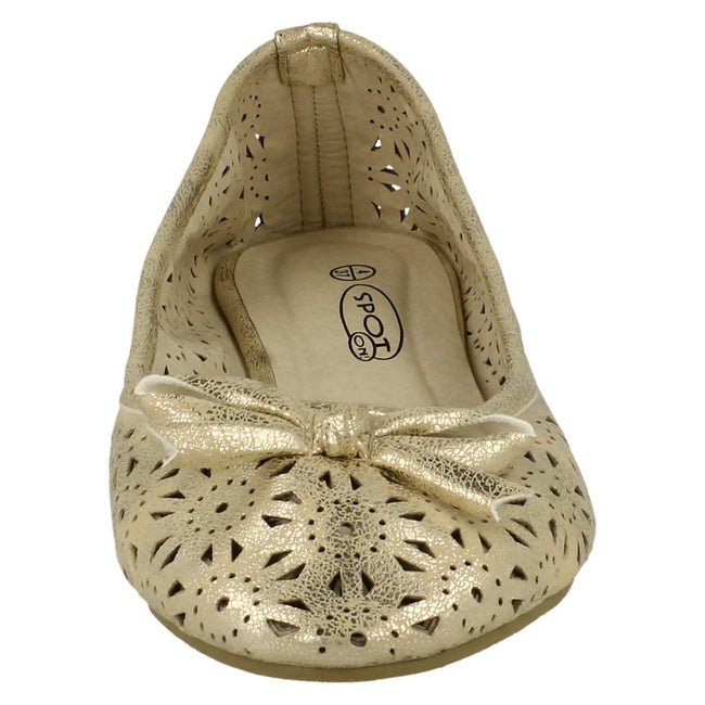 Nude Gold - Front - Spot On Womens-Ladies Slip On Summer Ballerina Shoes