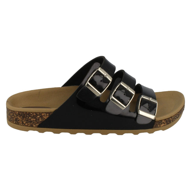 Black - Back - Spot On Womens-Ladies Three Buckle Mule Sandals