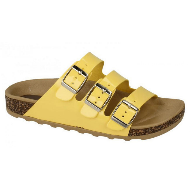 Yellow - Side - Spot On Womens-Ladies Three Buckle Mule Sandals