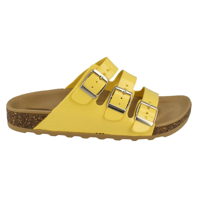 Yellow - Lifestyle - Spot On Womens-Ladies Three Buckle Mule Sandals