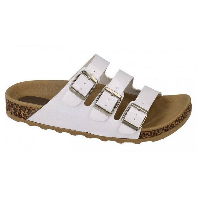 White - Side - Spot On Womens-Ladies Three Buckle Mule Sandals