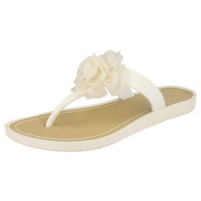 White - Front - Savannah Womens-Ladies Flat Toe Post Rose Trim Sandals