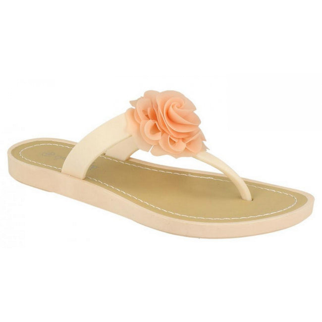 Pink - Front - Savannah Womens-Ladies Flat Toe Post Rose Trim Sandals