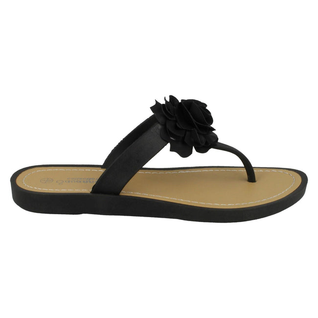 Black - Back - Savannah Womens-Ladies Flat Toe Post Rose Trim Sandals