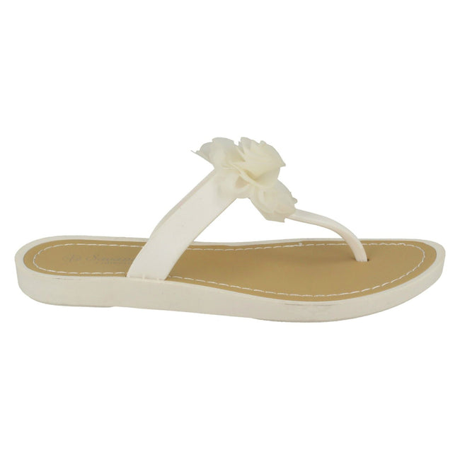 White - Back - Savannah Womens-Ladies Flat Toe Post Rose Trim Sandals