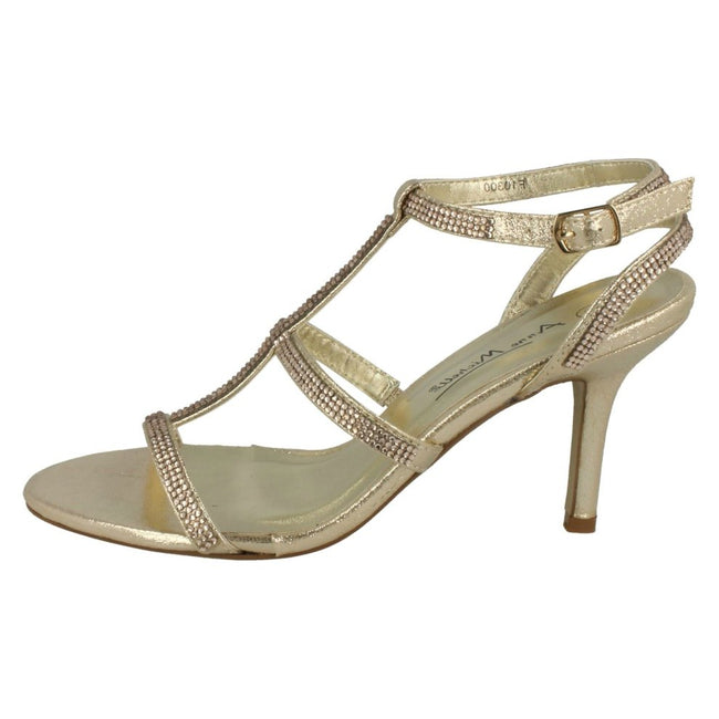 Champagne - Lifestyle - Anne Michelle Womens-Ladies Diamante H Bar Evening Sandals