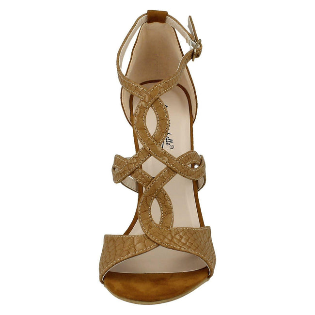 Camel - Pack Shot - Anne Michelle Womens-Ladies Faux Snake Skin High Heels