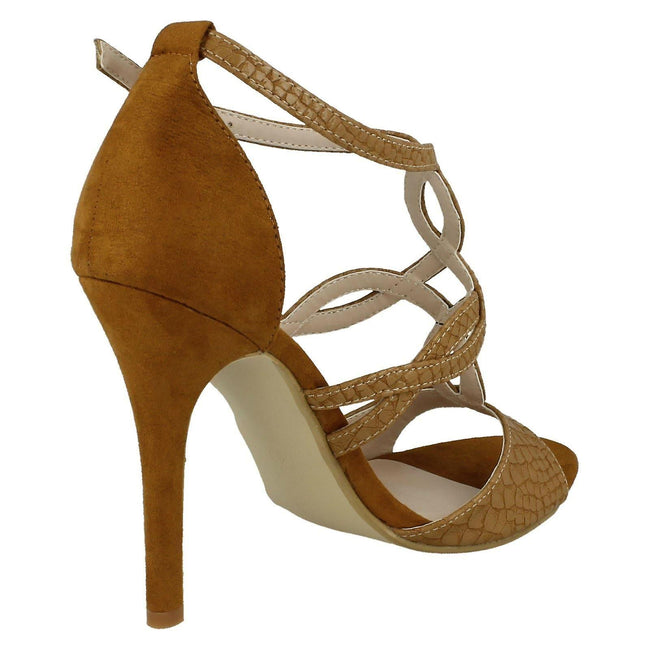 Camel - Lifestyle - Anne Michelle Womens-Ladies Faux Snake Skin High Heels