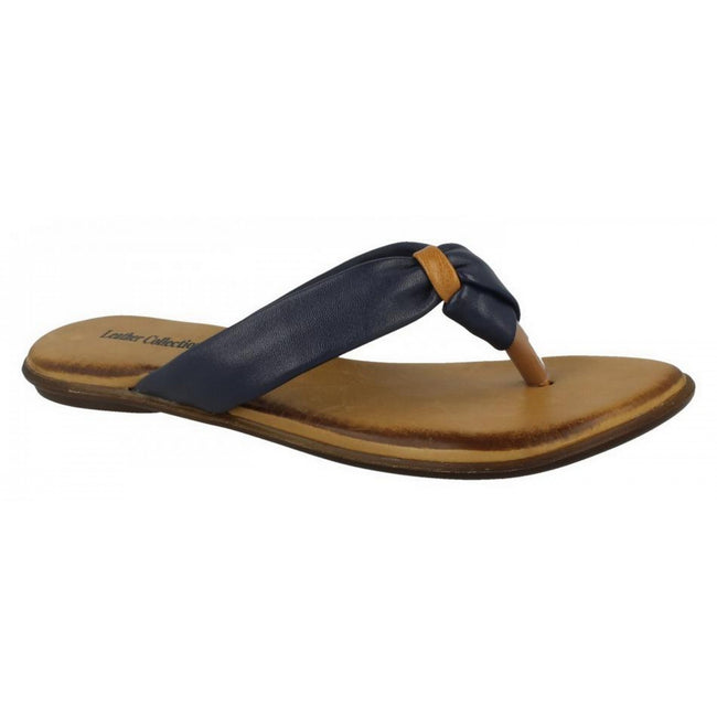 Navy Leather - Front - Leather Collection Womens-Ladies Knotted Toe Post Flip Flop