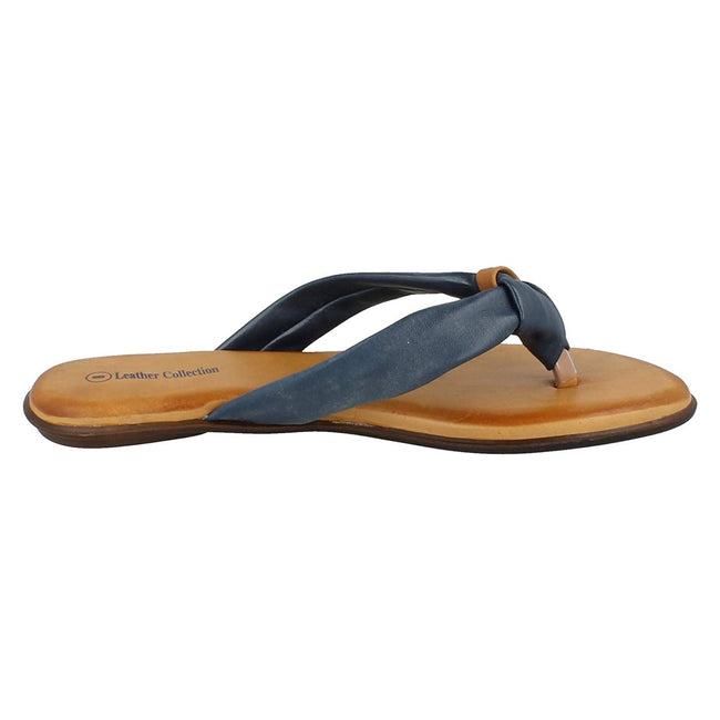 Navy Leather - Back - Leather Collection Womens-Ladies Knotted Toe Post Flip Flop